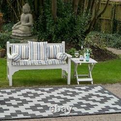 Black Geometric Outdoor Garden Rug BBQ Area Patio Hot Tub Mat Washable Versatile