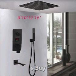 Black Rain Shower Head 3 Function LED Digital Valve Hand Shower Tub Faucet Taps