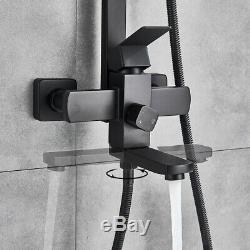 Black Shower Faucet Rainfall Hand Shower Tub Filler Mixer Tap Bathroom Bathtub
