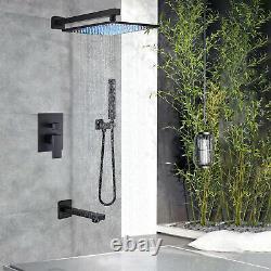 Black Shower Faucet Set 12 Rainfall Head Combo Kit Tub Filler with Mixer Valve