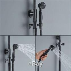 Black Shower Faucets Set 8 Brass Rainfall Shower Head Tub Spout Wall Mounted