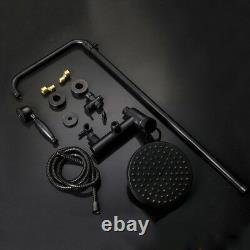 Black Wall Mounted Bathroom Rainfall Shower Faucet Set Tub Faucet Mixer Taps