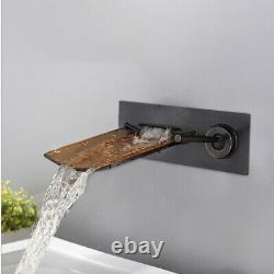 Brown Glass Waterfall Oil Black Faucet Wall Mounted Bathtub Basin sink Mixer Tap