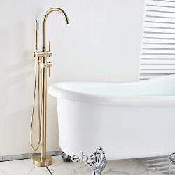 Brushed Gold Free Standing Floor Mount Bathtub Tap Faucet Bath Shower System Set