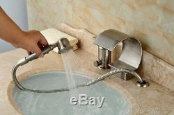 Brushed Nickel 3pcs Waterfall Bathtub Filler Single Handle Faucet WithHand Sprayer