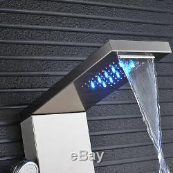 Brushed Nickel Bathroom Faucet LED Shower Panel Tower Column Bathtub Mixer Tap