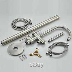 Brushed Nickel Free Standing Tub Faucet Filler Hand Shower Bathtub Mixing Tap