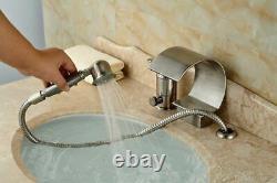 Brushed Nickel Roman Waterfall Bathroom Tub Faucet 3 PCS Diverter Hand Shower1