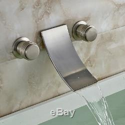Brushed Nickel Waterfall Spout Bath Sink Faucet Wall Mount 3 Holes Tub Mixer Tap
