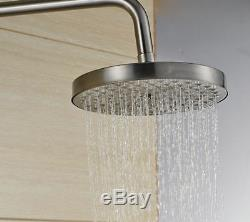 Brushed Nickle 8Rain Shower Faucet Set Bath Tub Mixer Tap With Handle Spray