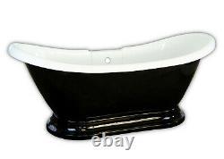 Carver Tubs Maximus 69 Freestanding Soaking Tub + Black Acrylic Chrome Drain