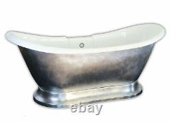 Carver Tubs Maximus 69 Freestanding Soaking Tub + Chrome Silver -Chrome Drain