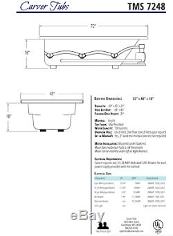 Carver Tubs TMS7248 72 Soaking Drop In Bathtub White Acrylic Two Person