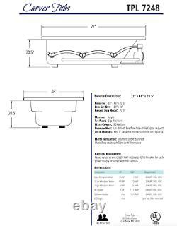Carver Tubs TPL7248- 72 Soaking Drop In Bathtub 2 Person White Acrylic