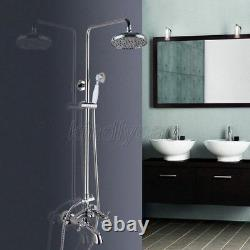 Chrome Brass Wall Mount Rain Shower Faucet Set With Clawfoot Tub Mixer Tap Kcy352