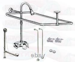 Chrome Clawfoot Tub Faucet Add-A-Shower Kit WithCurtain Rod, Drain & Supplies