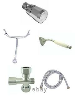 Chrome Clawfoot Tub Faucet Add-A-Shower Kit WithDrain-Supplies & Stops #11509