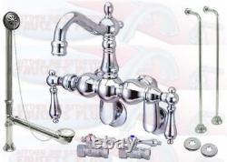Chrome Clawfoot Tub Faucet Kit With Drain & Supplies