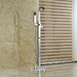 Chrome Floor Mount Free Standing Bathtub Faucet Shower Set Tub Filler Mixer Tap