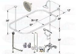 Chrome Tub Mount Clawfoot Faucet Kit WithShower Riser Enclosure, Drain & Supplies