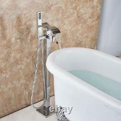 Chrome Waterfall Spout Shower Faucet Floor Mount Bathtub Free Standing Mix Tap