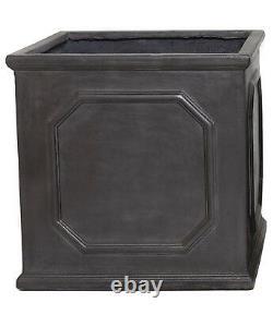 Clayfibre Grey/Silver Chelsea Box Garden Planter Square Flower Plant Pot Cube