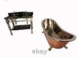 Copper Bathtub PRINCESS Nickel Inside Cast Iron Nickel Plated Vanity Unit