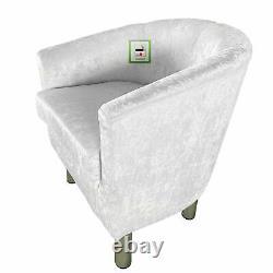 Crush Velvet Fabric Tub Chair Armchair Sofa Seat Lounge Living Room Office Home