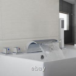 Deck Mount 5PCS Waterfall Shower Set Bathtub Mixer Basin Faucet with Handheld