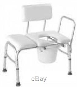 Deluxe Vinyl Padded Transfer Bench Cut Out Commode Pail B15211 Safety Shower