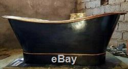 Designer Black copper Bath Tub Slipper Bathtub Freestanding Bateau Double Hand