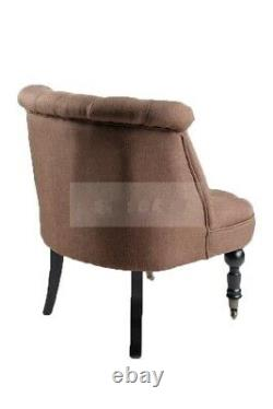 Designer Tub Chair Sofa Lined Polyester Fabric Brown Armchair Single Seater New