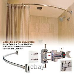 Extendable Curved Shaped Bath Tub Shower Stainless Steel Chrome Curtain Rod Rail