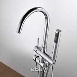 Floor Mount Bathtub Brass Faucet Hand Shower Bath Mixer Clawfoot Tub Filler Tap