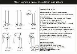 Floor Mount Free Standing Tub Filler Tap Bathtub Faucet with Handheld Sprayer