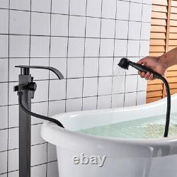 Floor Mounted Bath Faucet Freestanding Waterfall Tub Mixer Tap Hand Shower Black