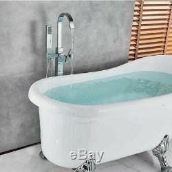 Floor Mounted Free Standing Bathtub Faucet Shower Set Tub Filler Mixer Tap Brass