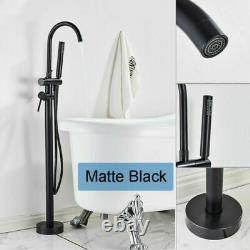 Floor Standing Bathtub Tap Shower Tub Filler Mixer Bath Hand Shower Matte Black
