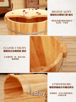 Foot basin Tall wooden bucket with cover rest stool foot bath tub
