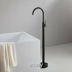 Free Standing Bath tub round Matt Black Mixer Spout Freestanding spout filler