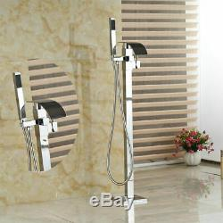 Free Standing Bathroom Tub Faucet Filler HandSpray Set Shower Chrome Bathtub