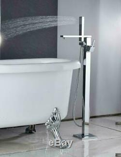 Free Standing Bathtub Faucet Chrome Floor Mount Tub Filler Tap With Hand Shower