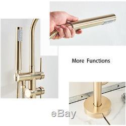 Free Standing Bathtub Tap Faucet Floor Mount Bath Shower System Set Brushed Gold