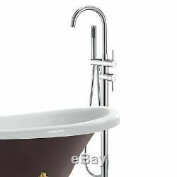 Free Standing Floor Mounted Bathtub Tap Faucet Shower Set Tub Filler Mixer Brass