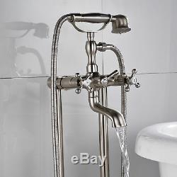 Free Standing Stainless Steel Floor Mount Clawfoot Bath tub Filler Faucet Shower