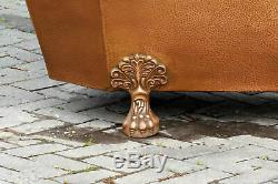 Large Freestanding 70\u201d Antique Inspired Octagonal Hammered Copper Double Slipper Clawfoot Bathtub