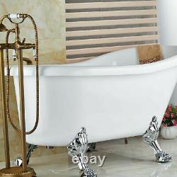 Freestanding Bath Filler Antique Brass Floor Mounted Mixer Tap HandHeld Shower