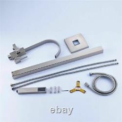 Freestanding Bath Filler Mixer Tap Brushed Nickel HandShower Brass Floor Mounted