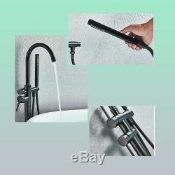 Freestanding Bath Filler Mixer Tap Hand Held Shower Head Set Brass Floor Mounted