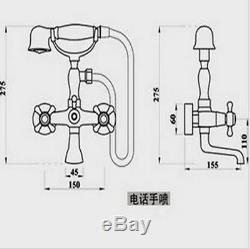 Gold Bathtub Shower Faucet Bathroom Basin Taps Hand Held Shower Mixer 2 Handles